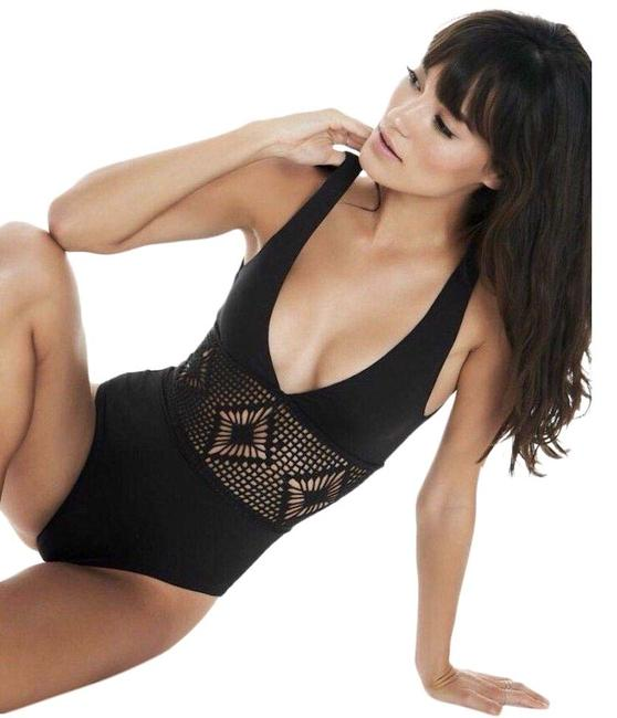 Item - Black L Samantha Crochet Panel Swimsuit One-piece Bathing Suit Size 8 (M)