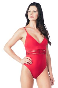 9c0a20cf7e Kenneth Cole Kenneth Cole Weave Your Own Way Plunge Mio One-Piece Swimsuit