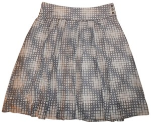 Pure Collection Plaid Geometric Cotton Silk A-line Skirt Grey/Ivory