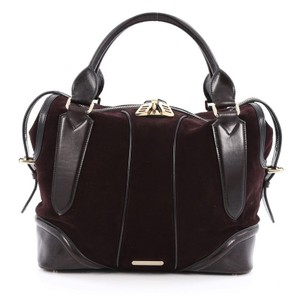 Burberry Suede Leather Satchel in wine