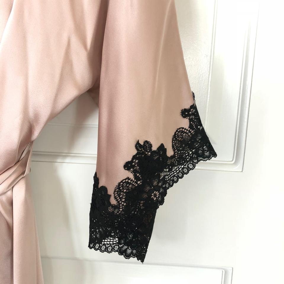 Neiman Marcus Blush and Black Silk Gown Robe Set- Gown Size Xl Robe ...