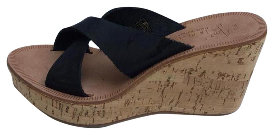Joie Wedge Black New Stinson Wedge Joie Slip On Leather Sandals 4bf529
