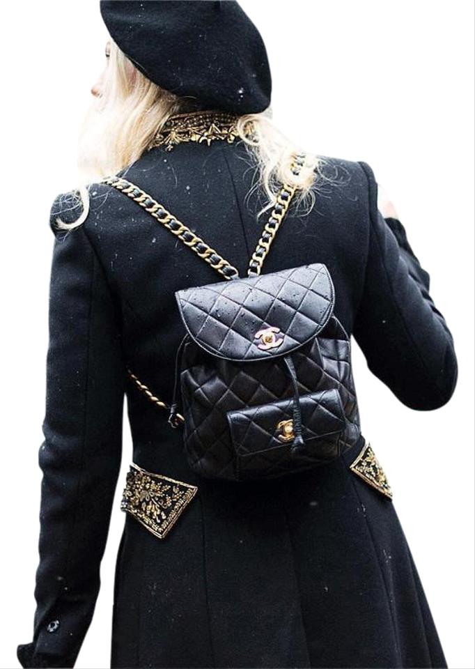 Chanel Backpack Vintage Quilted Matelasse Chain Black Lambskin ... f69c9458cd661