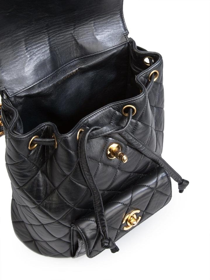 f71934811637 Chanel Vintage Quilted Matelasse Chain Black Lambskin Leather Backpack -  Tradesy