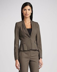 Elie Tahari Elie Tahari Womens Mink Virgin Wool Lined Paige 1 Button Suit Jacket Blazer