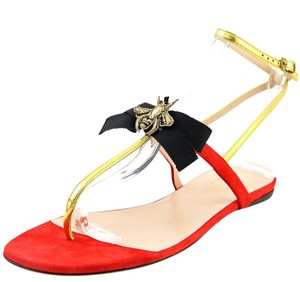 Gucci Gg Flats Red Gold Black Sandals