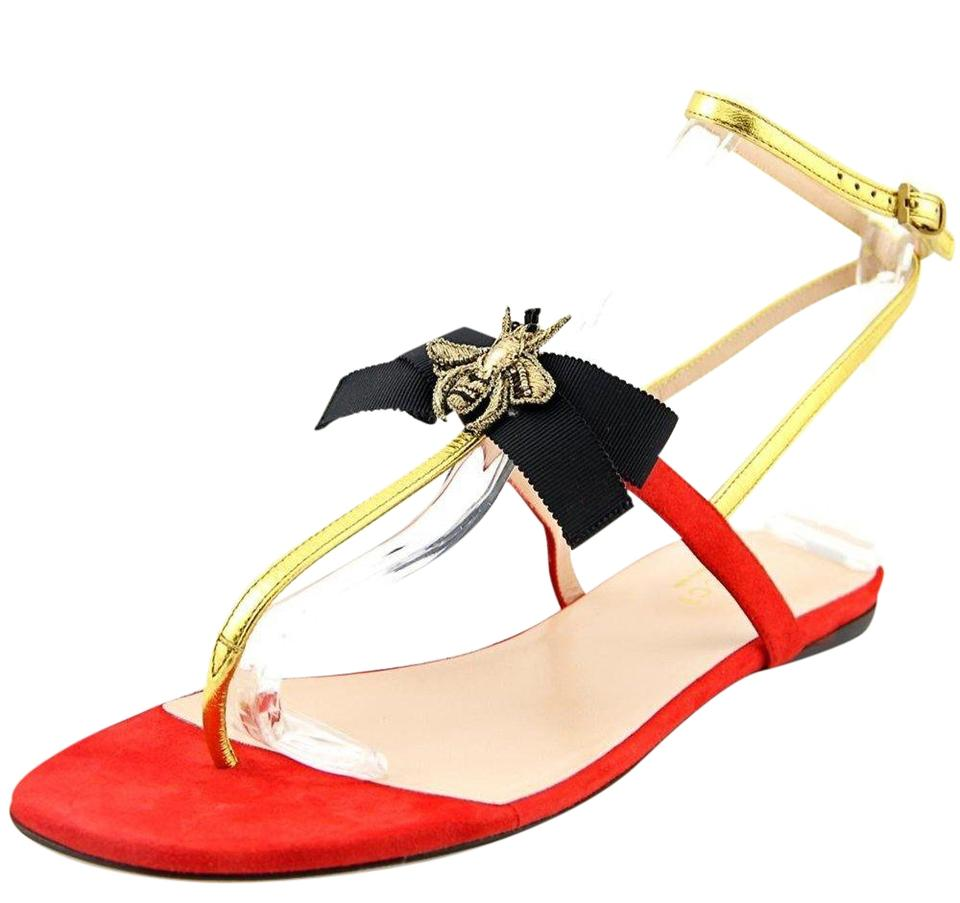 dfccd726b53 Gucci Red Gold Black New Flats Bee Bow Embellished Metallic Sandals ...