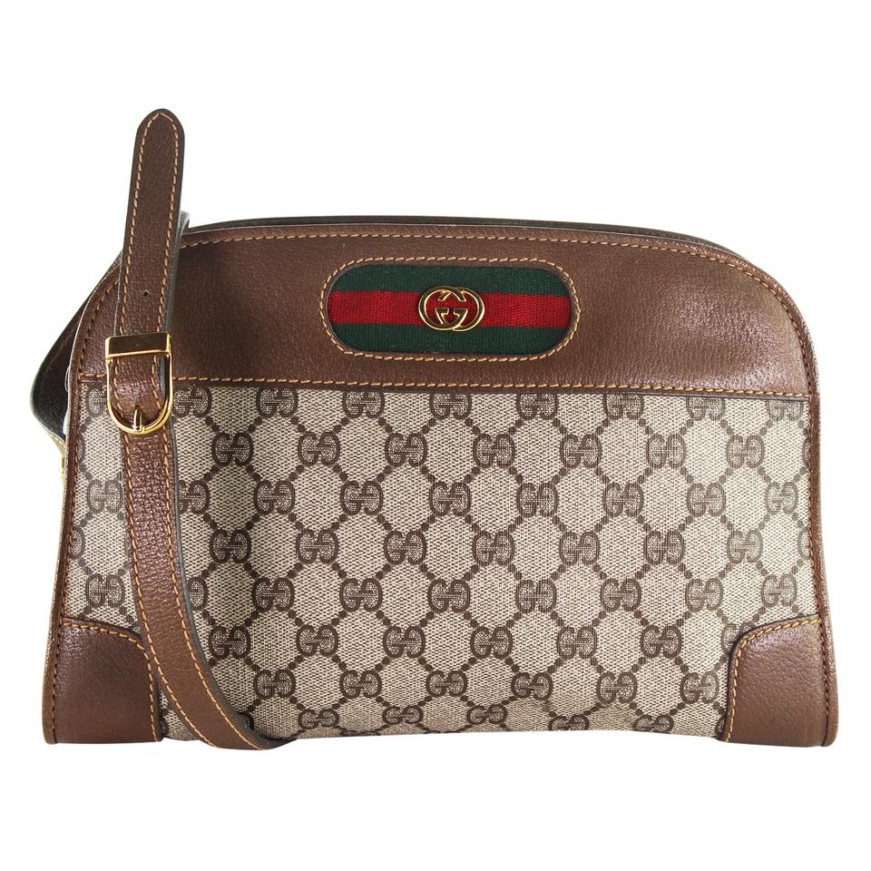 38a61277fd4e Gucci Webby Vintage Sherry Line 6408 Brown Coated Canvas and Leather ...
