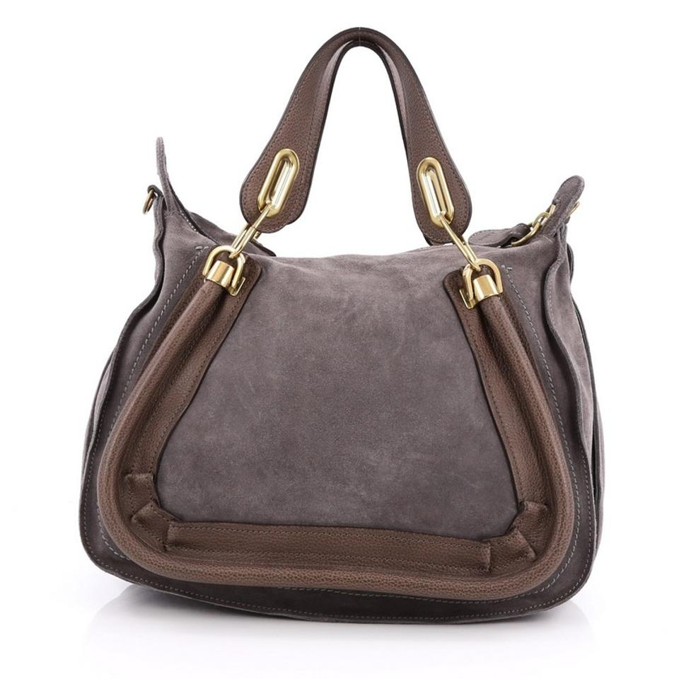 Leather Chloé Top Paraty Handle Suede and Taupe Shoulder Bag Medium Grey rr8gZWwq