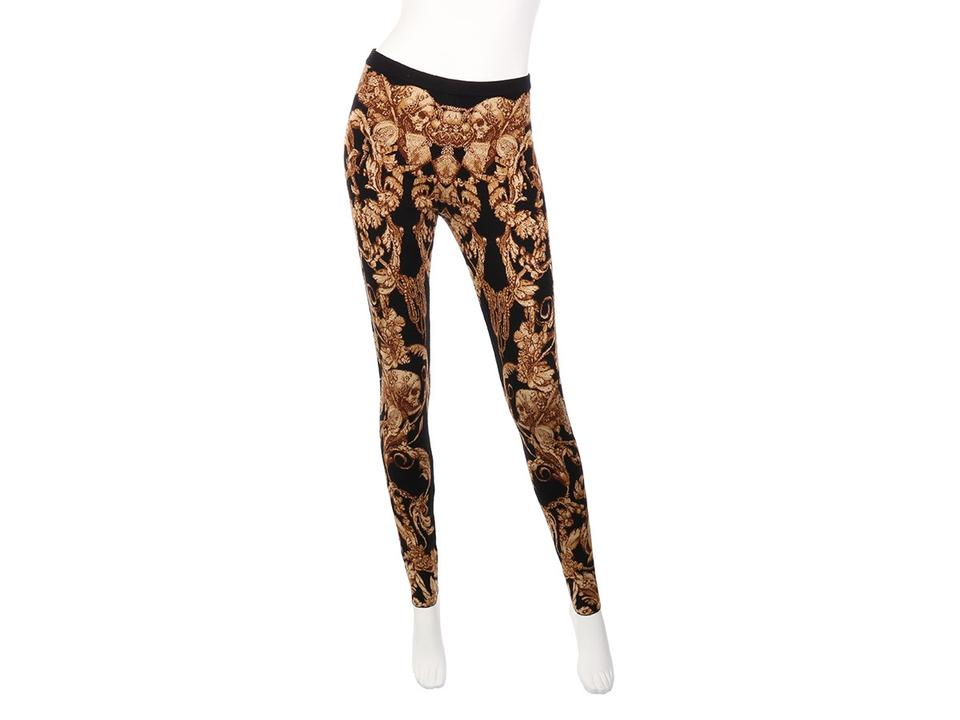 c5208dd89e690 Alexander McQueen Skull Ys.el1018.17 Tights Floral Stretchy Black and Brown  Leggings Image ... baggy wool sweater ...