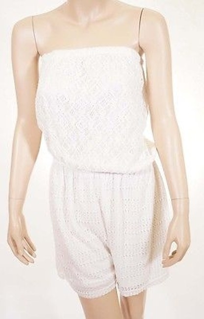 Preload https://item2.tradesy.com/images/solitaire-swim-womens-white-lined-cover-up-romper-shorts-lace-strapless-2388661-0-0.jpg?width=400&height=650