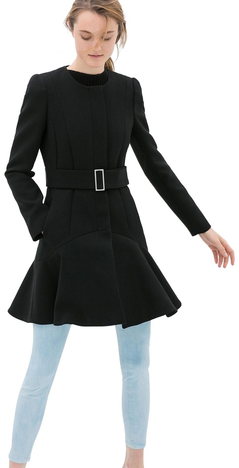 a32b334fc1fbc Zara Black Jacket with Peplum Flared Hem Coat Size 4 (S) - Tradesy