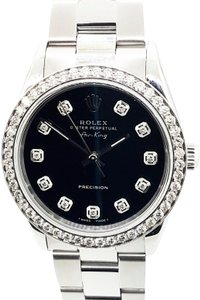 Rolex Rolex Air-King Precision Stainless Steel Diamond Black Dial 34mm Watch