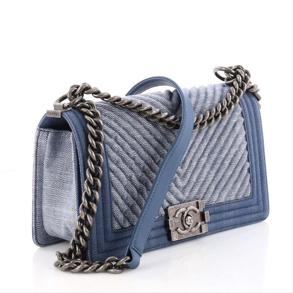 Chanel Classic Flap Boy Chevron Old Medium Blue Denim Shoulder Bag - Tradesy e42ebb7d2cb3a