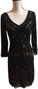 Sue Wong Designer Beaded Embroidery Lace Dress