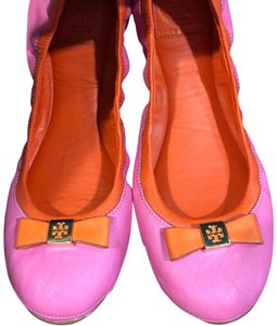 Tory Burch hot pink w orange & gold clip Flats