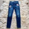 7 For All Mankind Blue Dark Rinse Floral Patchwork The Ankle Skinny Jeans Size 24 (0, XS) 7 For All Mankind Blue Dark Rinse Floral Patchwork The Ankle Skinny Jeans Size 24 (0, XS) Image 4