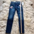 7 For All Mankind Blue Dark Rinse Floral Patchwork The Ankle Skinny Jeans Size 24 (0, XS) 7 For All Mankind Blue Dark Rinse Floral Patchwork The Ankle Skinny Jeans Size 24 (0, XS) Image 8