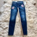 7 For All Mankind Blue Dark Rinse Floral Patchwork The Ankle Skinny Jeans Size 24 (0, XS) 7 For All Mankind Blue Dark Rinse Floral Patchwork The Ankle Skinny Jeans Size 24 (0, XS) Image 9