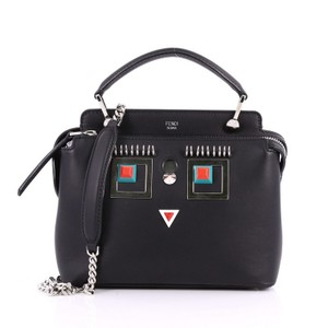 Fendi Leather Embellished Satchel in black