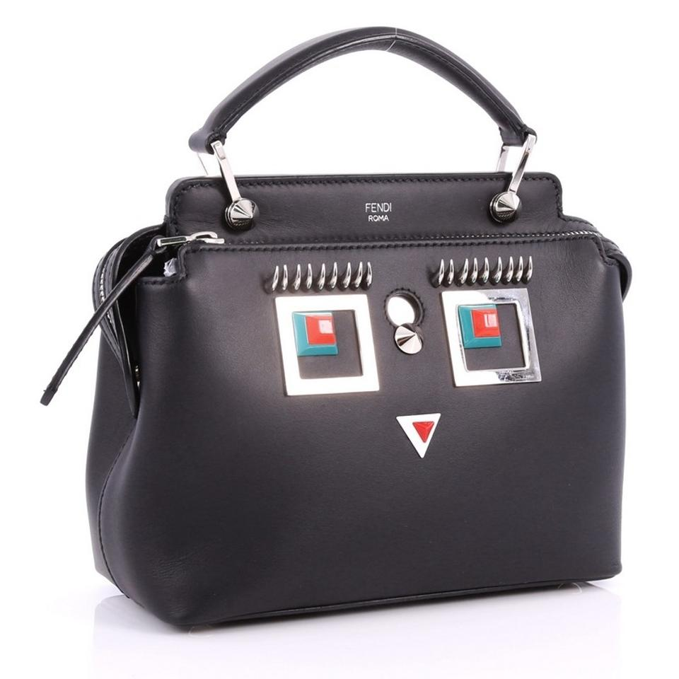 5ad39c385b Fendi Dotcom Faces Click Top Handle Embellished Small Black Leather ...