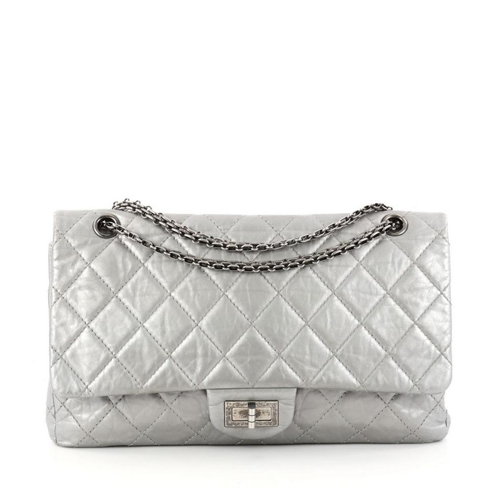 f54982630d45b2 Chanel 2.55 Reissue Reissue Handbag Quilted Aged 227 Silver Calfskin ...