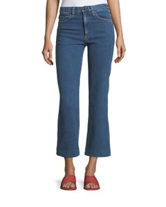 Rag & Bone Ragandbone Cropped Denim Trouser/Wide Leg Jeans-Medium Wash