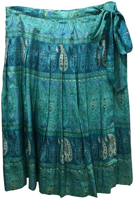 Item - Multi Blue White and Green Wrap Skirt Size 0 (XS, 25)