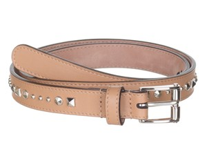 Gucci Gucci Women's Beige Studded Leather Slim Belt