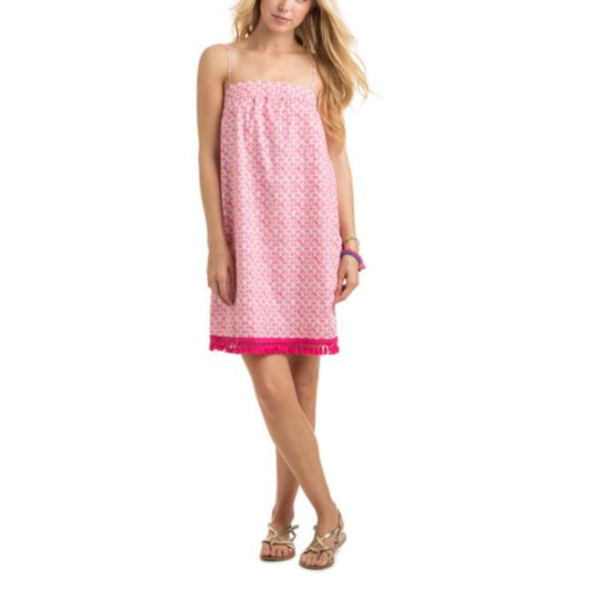Item - Pink 2c0081-tiny Leaves Swing Beach Cover Up Short Casual Dress Size 0 (XS)