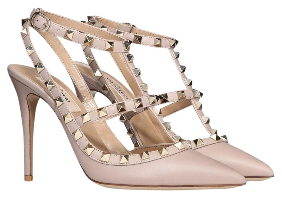 Valentino Poudre Nude Cage Classic Rockstud Embellished Matte Leather Point-toe Cage Nude Heels Pumps c0990b