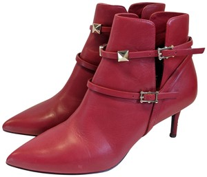 Valentino Rockstud Leather Red Boots
