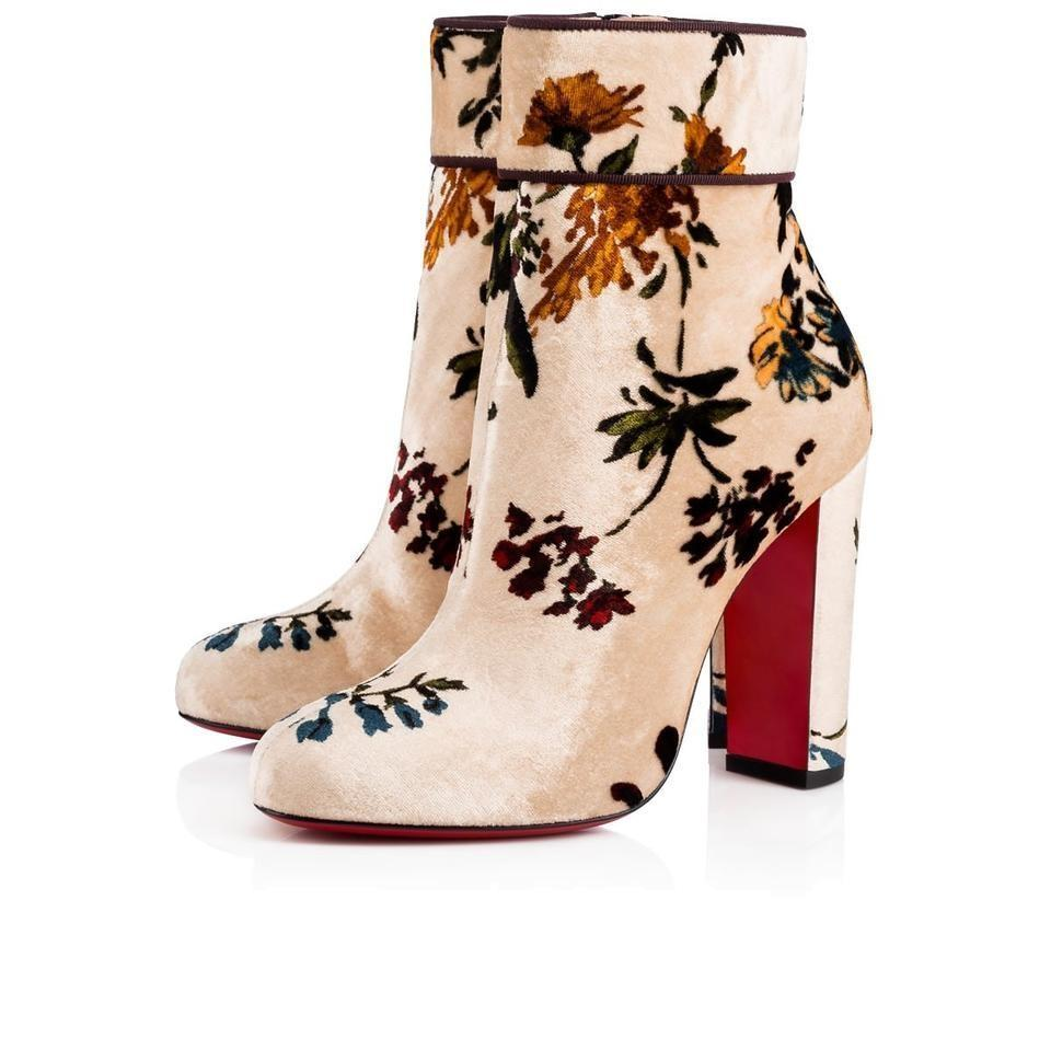 8ae2dcef374 Christian Louboutin Beige Floral Classic Moulamax 100mm Bouquet Velvet  Leather Ankle Boots/Booties Boots/Booties Size EU 37 (Approx. US 7) Regular  (M, ...