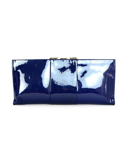 Roger Vivier Patent Leather Navy Clasp Gold Blue Clutch