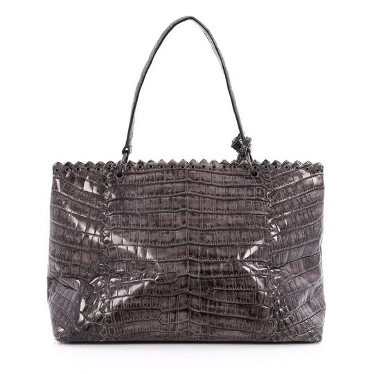 Bottega Veneta Crocodile Tote in grey