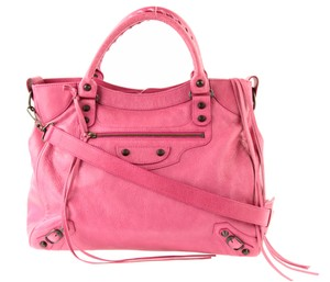 Balenciaga Tote Leather Satchel in Pink
