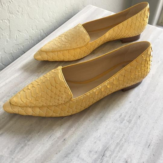 Alexandre Birman Python Pointed Toe Yellow Flats