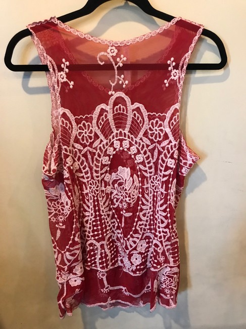 Forgotten Grace Embroidered Polyester Cotton Top Red and White