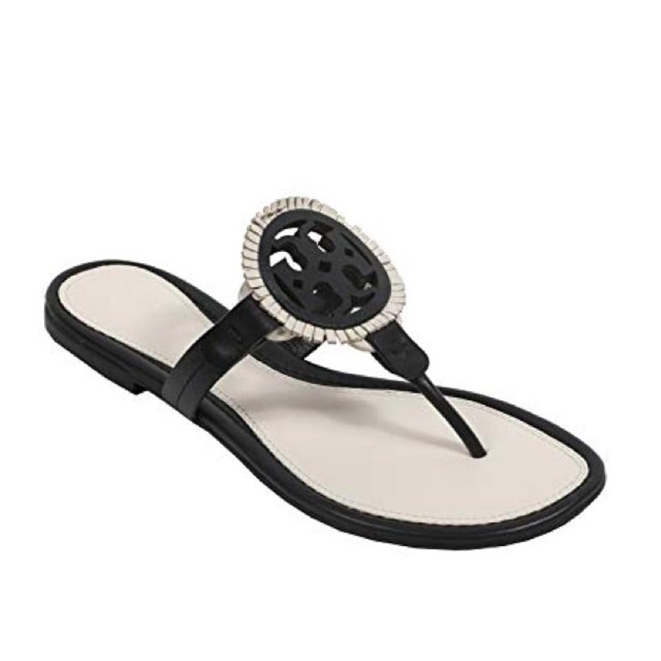 237da98df858 Tory Burch Black   White Miller Fringe Sandals. Size  US 7.5 Regular (M ...