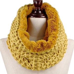 Other Yellow Mustard Waffle Knitted Fleece Infinity SNood Fall Winter Scarf