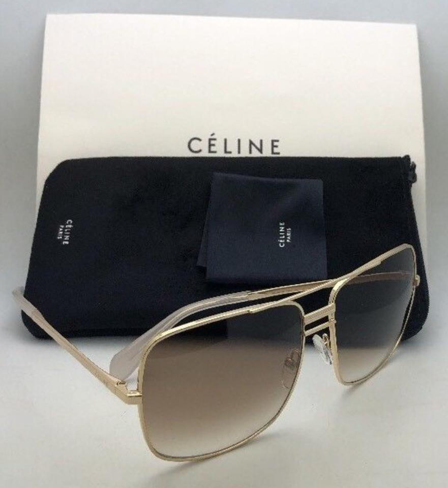 4d7fa20a1dab Céline New Cl 41808 S J5gxy 61-15 140 Gold Aviator W  Brown Gradient ...