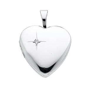 TD Collections 14K White Gold Diamond-Accent Heart Locket Pendant