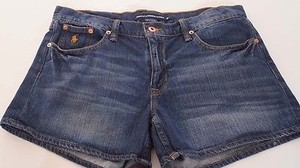 Ralph Lauren Sport Womens Pony Blue Denim Jean Shorts Medium Blue