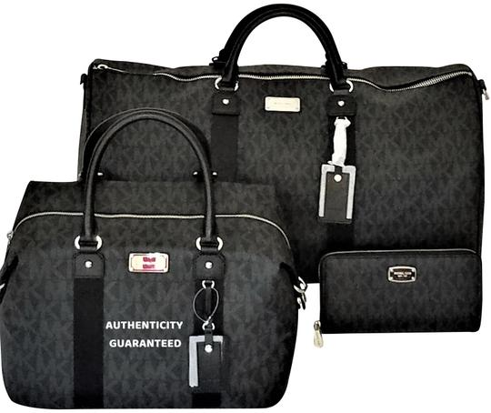 Preload https://item3.tradesy.com/images/michael-kors-new-4-pc-mk-duffle-and-luggage-and-multifunction-walletkey-fob-black-pvc-weekendtravel--23888082-0-3.jpg?width=440&height=440