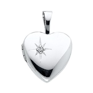 TD Collections 14K White Gold Heart Locket Pendant