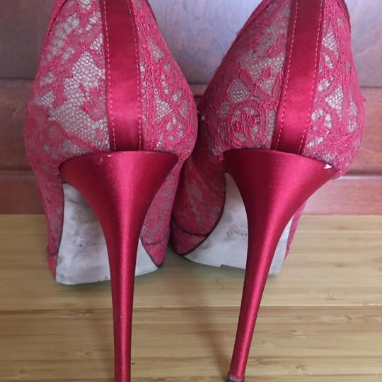 Valentino Lace Bow Peep Toe red Pumps