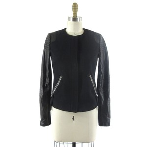 Rebecca Taylor Quilted Moto black Leather Jacket