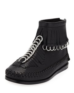 Alexander Wang Boho Leather Fringe Hem Rocker Festival Black Boots