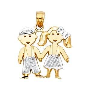 TD Collections 14K Two Tone Gold Girl & Boy Pendant