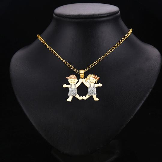TD Collections 14K Tri Color Gold Girl & Boy Pendant